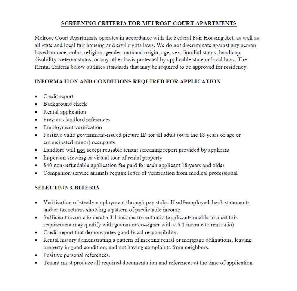 Applicant Screening Criteria 1